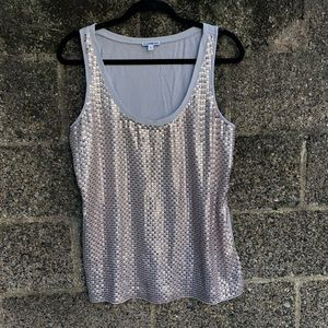 Express Gray Tank Rose Gold Sequin Front